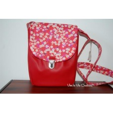 Pochette Smally en simili rouge et liberty Mitsi rouge