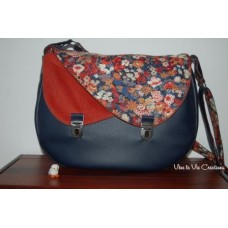 Sac à Double rabats en simili bleu marine et Liberty Thorpe terracotta