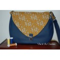 Sac  en simili bleu marine et Liberty Capel moutarde