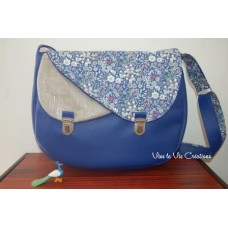Sac à Double rabat en simili cuir bleu roi et Liberty June Meadow bleu