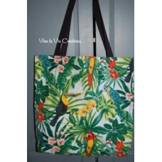 Tote bag, sac shopping imprimé tropical