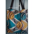 Tote bag, sac shopping wax turquoise