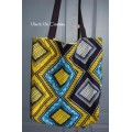 Tote bag, sac shopping wax jaune et marine