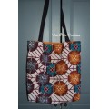 Tote bag, sac shopping wax orange et prune