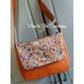 Sac Tourni ,simili cuir terracotta et Liberty Eben